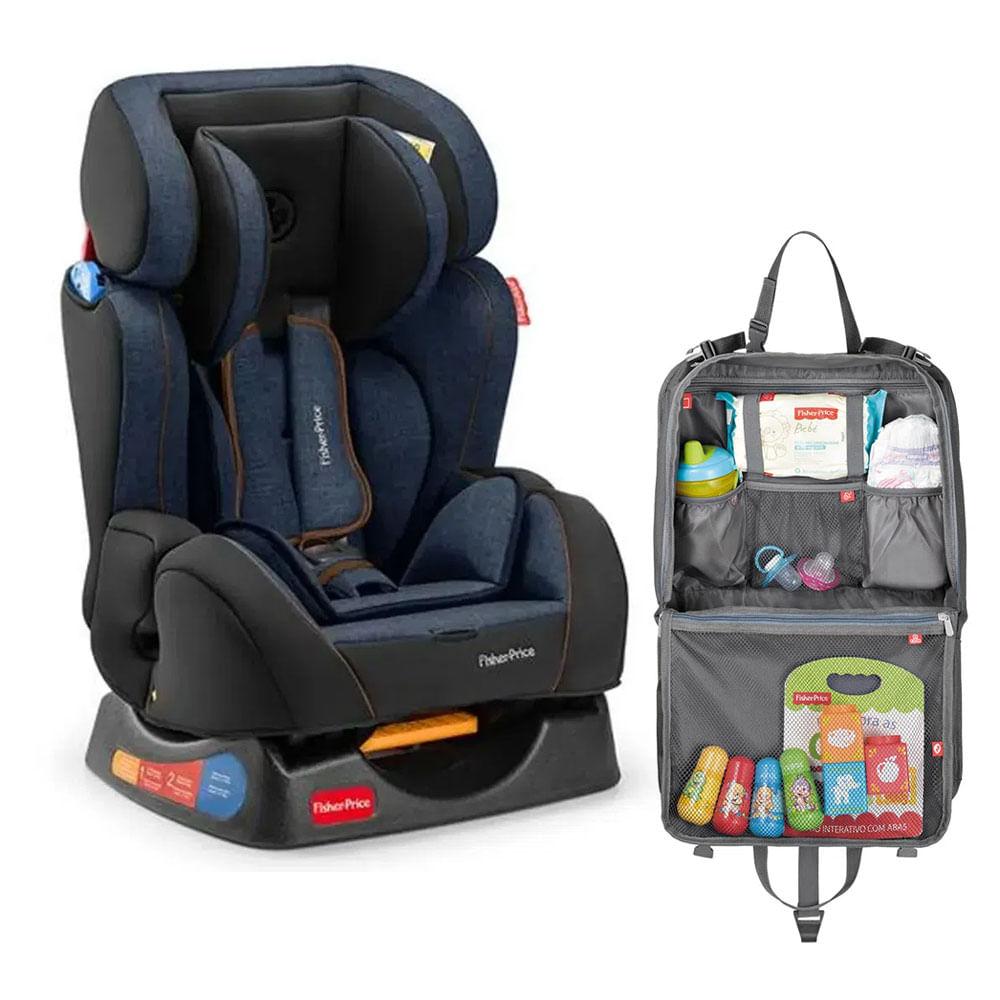 Kit de Cadeira para Auto - De 0 a 25 Kg - Hug - Azul com Organizador para Carro - Fisher Price