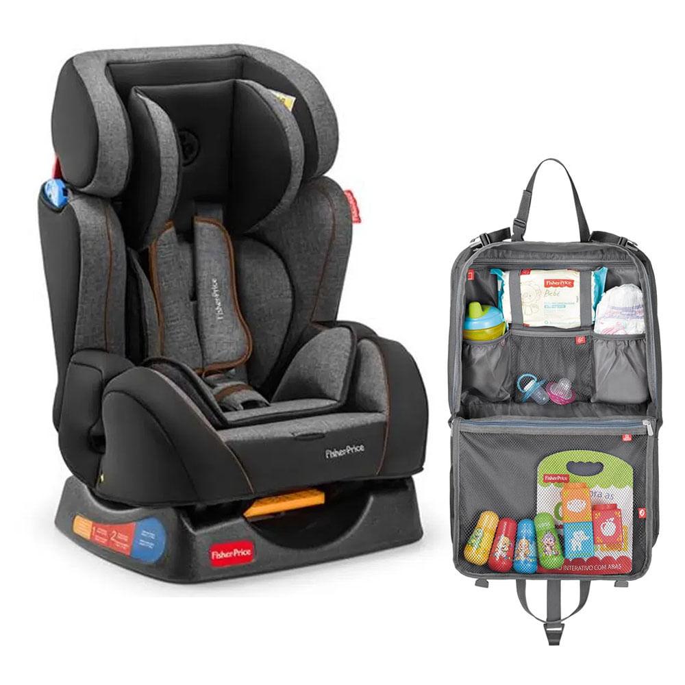 Kit de Cadeira para Auto - De 0 a 25 Kg - Hug - Cinza com Organizador para Carro - Fisher Price