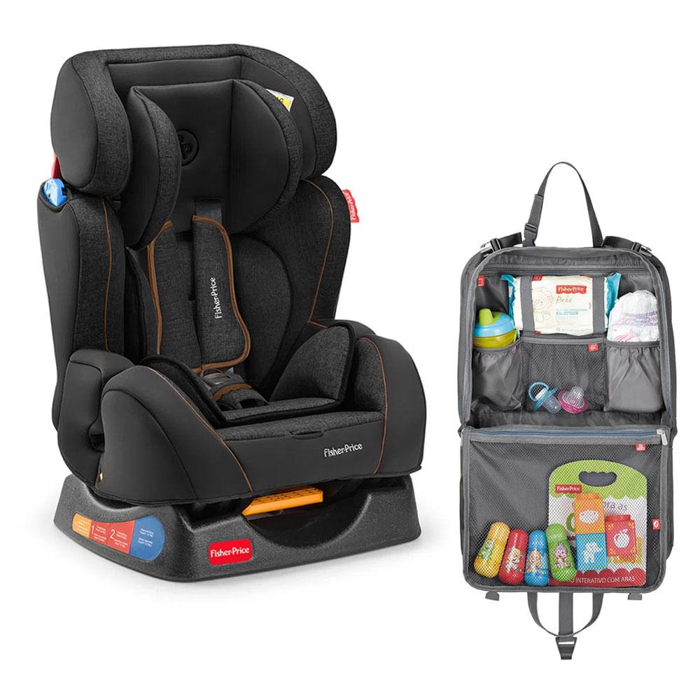 Kit de Cadeira para Auto - De 0 a 25 Kg - Hug - Preta com Organizador para Carro - Fisher Price