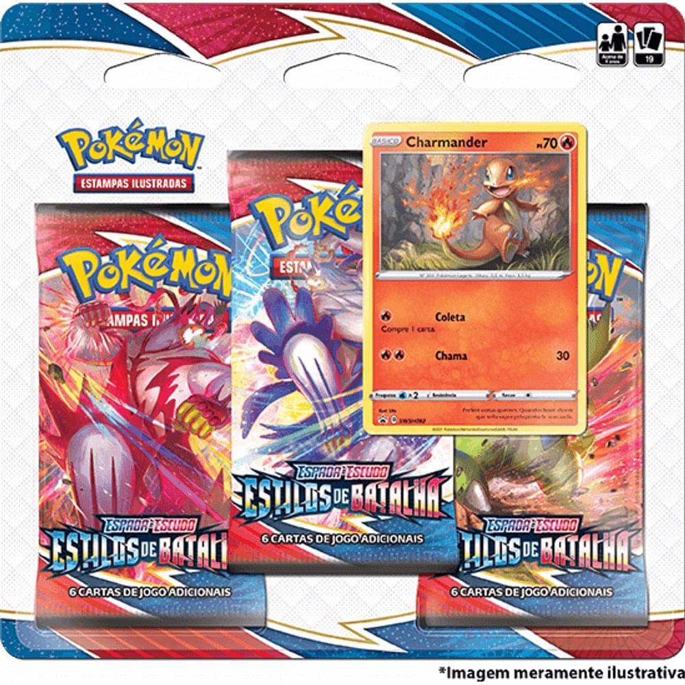 Pokémon Triple Pack Charmander - Espada e Escudo 5 - Estilos de Batalha -Copag
