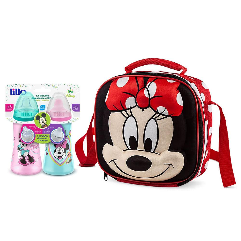 Kit de Bolsa Térmica e Copos de Treinamento - Disney - Colors - Minnie Mouse - Lillo