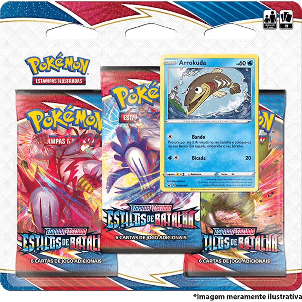 Pokémon Triple Pack Arrokuda - Espada e Escudo 5 - Estilos de Batalha -Copag