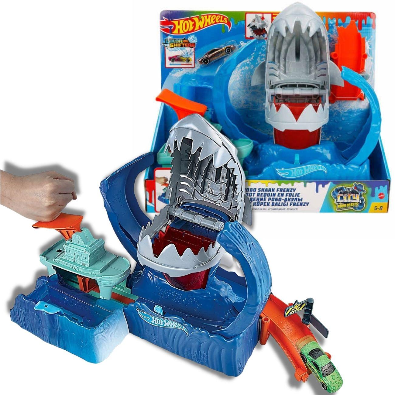 Pista Hot Wheels Robô Shark Color Shifters Mattel Brinquedo