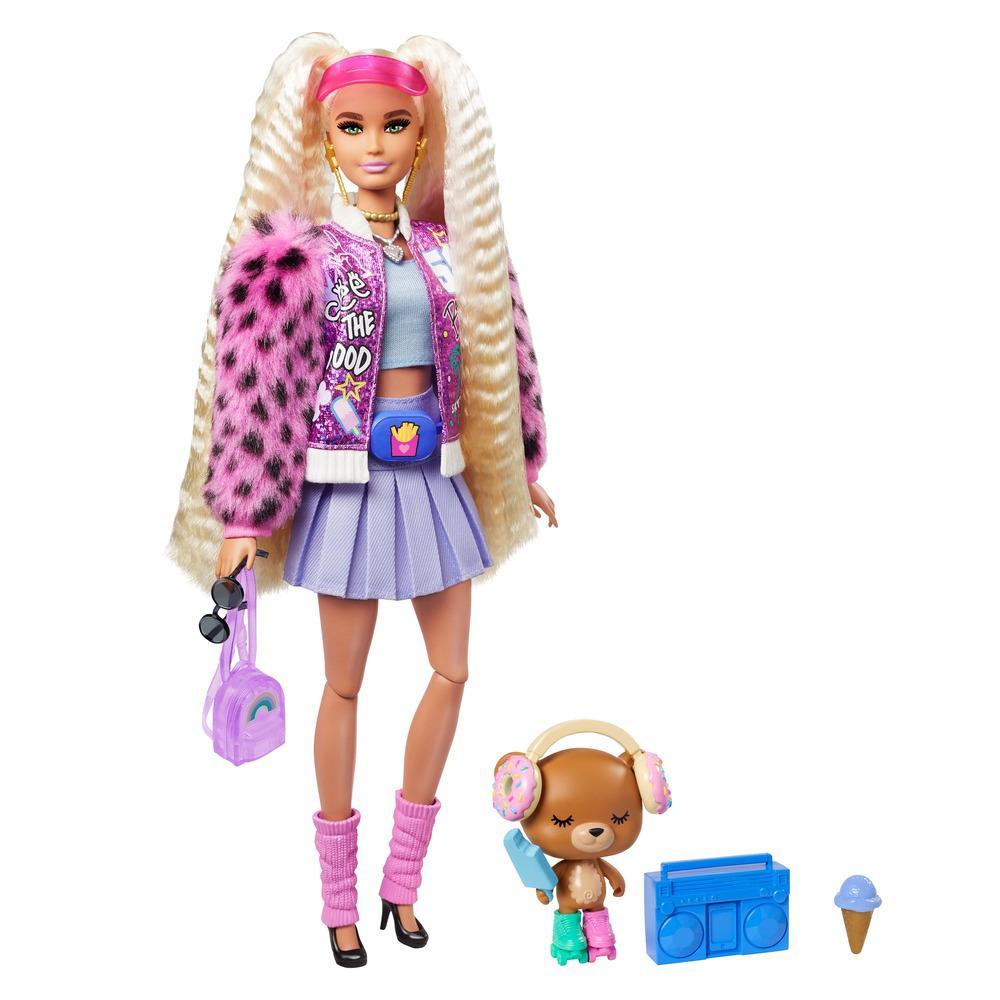 Boneca Barbie - Extra - Barbie Com Saia e Bolsa Roxa - Mattel