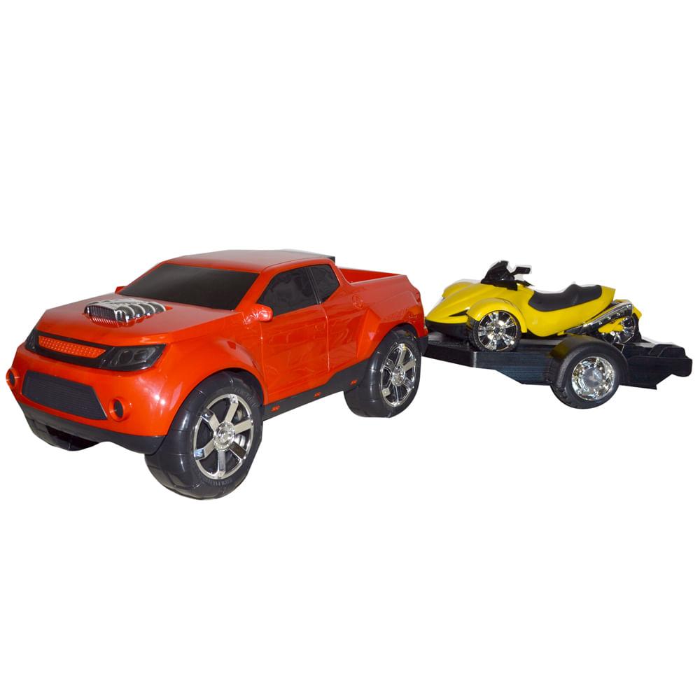 Pick - up com Triciclo - Super Combo 2 - Vermelho e Amarelo - BS Toys