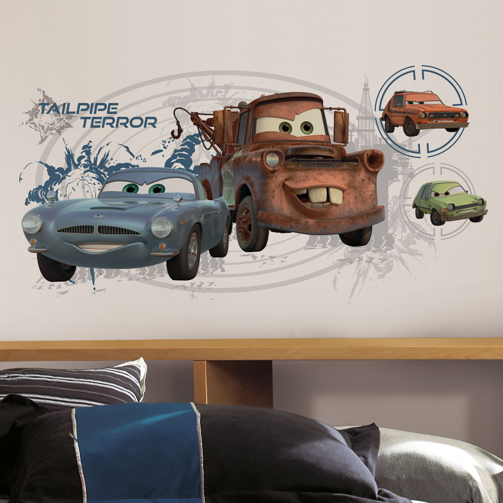 Adesivo Gigante de Parede - Cars 2 - Mate & Finn McMissile - RoomMates