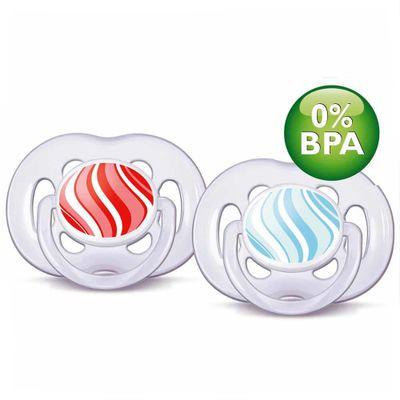 Chupeta-Contemporanea-FreeFlow-6-a-18-Meses-Double-Pack-Vermelha-e-Azul-Philips-Avent