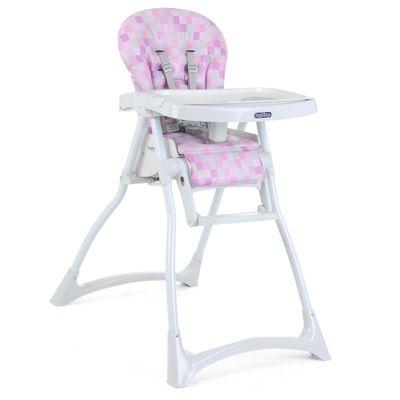 Cadeira de Alimentação com 2 Bandejas e Cinto de Segurança - Merenda - Cubes Rosa - Burigotto