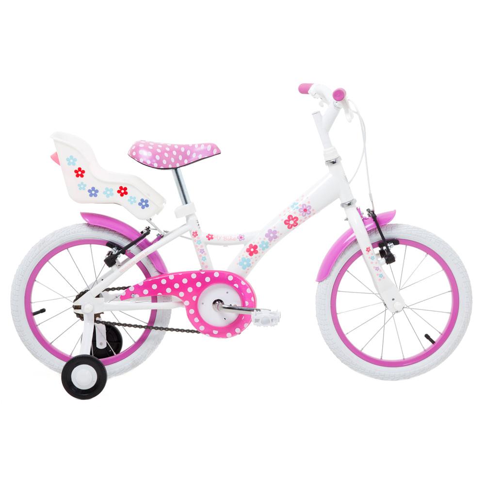 Bicicleta Aro 16 - Aço My Bike Branca com Porta Boneca - Tito Bikes