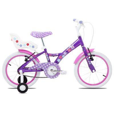 Bicicleta Aro 16 - Aço My Bike Roxa com Porta Boneca - Tito Bikes