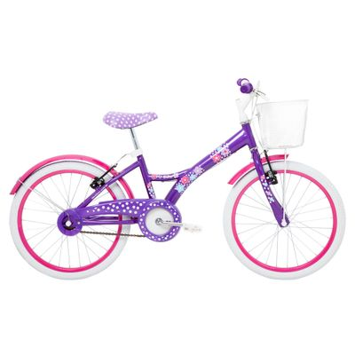 Bicicleta Aro 20 - Aço My Bike Roxa com Cesta - Tito Bikes