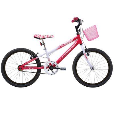Bicicleta Aro 20 Nina Branca e Rosa Pink - Houston