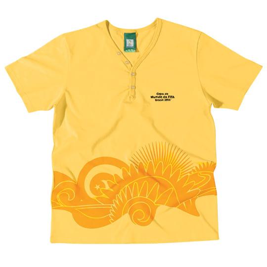 Camiseta Gola V - Copa do Mundo 2014 - Amarelo Ouro - Malwee Camiseta Gola V - Copa do Mundo 2014 Amarelo - Malwee Tam 1