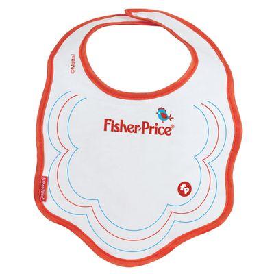 Babador-Atoalhado-de-Algodao-com-Botao-Branco-e-Vermelho-Fisher-Price
