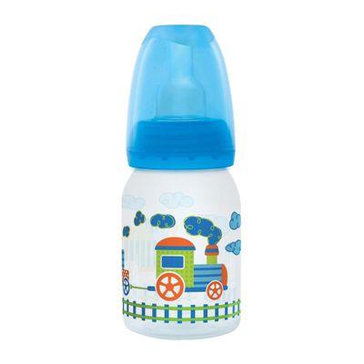 Mamadeira-Divertida-Ortodontica-Silicone-120ml-Trenzinho-Azul---Lillo-