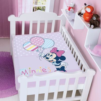 Cobertor-Raschel-Disney-Baby-Minnie-com-Baloes-Rosa-Jolitex
