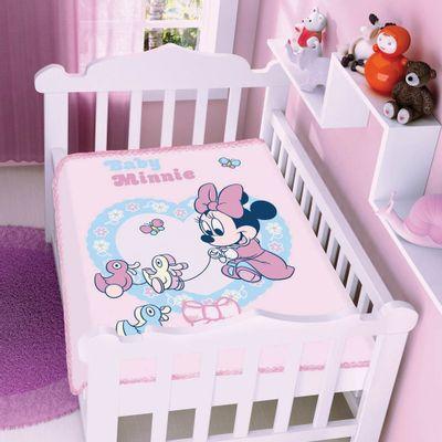 Cobertor-Raschel-Disney-Baby-Minnie-e-Patinhos-Rosa-Jolitex