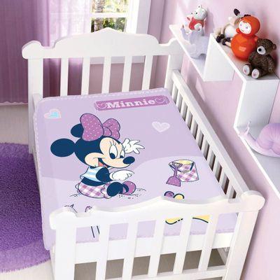 Cobertor-Raschel-Disney-Baby-Minnie-na-Areia-Rosa-Jolitex