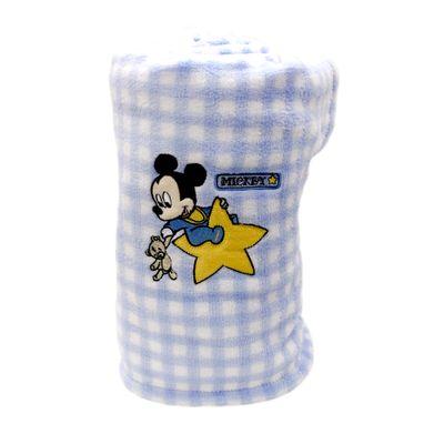 Manta-de-Microfibra-Bordada-Disney-Baby-Mickey-Estrela-Azul-e-Branca-Jolitex