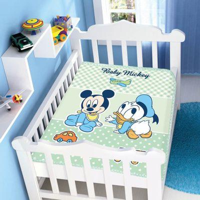 Cobertor-Raschel-Disney-Baby-Mickey-e-Baby-Pato-Donald-Azul-Jolitex