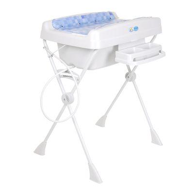 Banheira com Redutor e Trocador Millenia - Cubes Azul - 20 litros - Burigotto