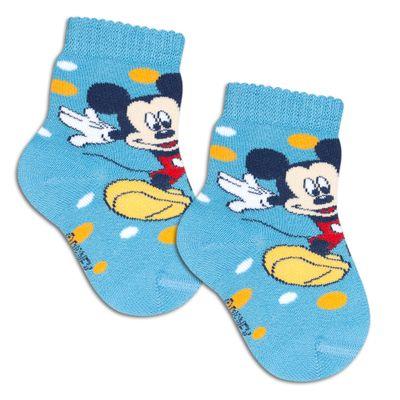 Meia-Cano-Curto-com-Bolinhas---Mickey---Azul---Lupo---2088-016