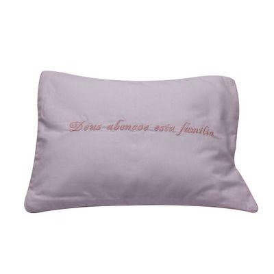 Almofada Bordada Deus Abençoe Rosa - Primo Sonho
