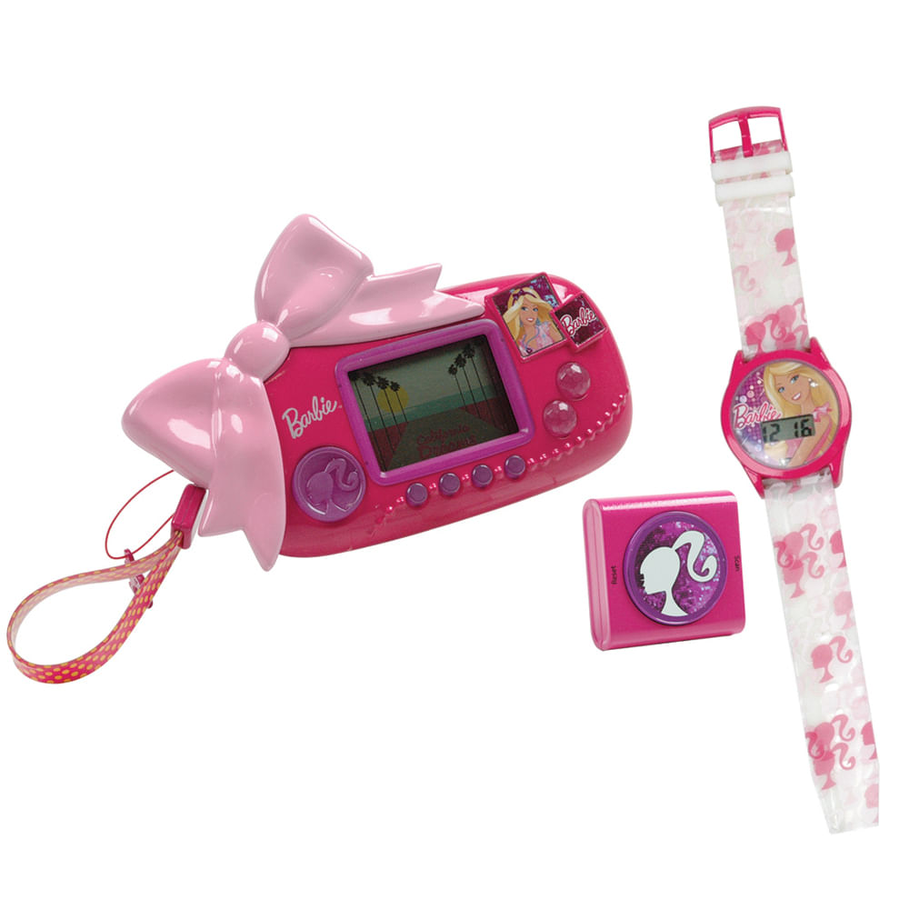 Combo Barbie - Mini Game, Relógio e Rádio - Corrida Mágica - Candide