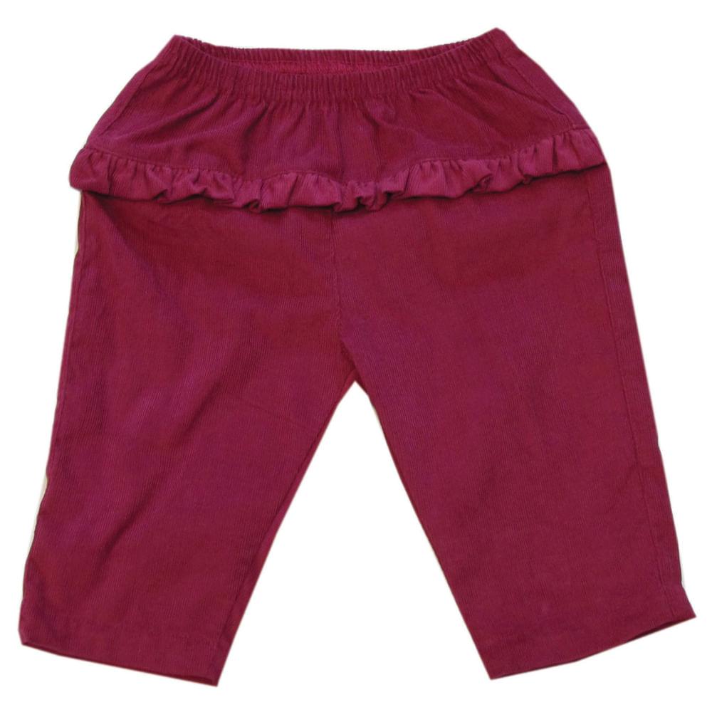 Calça de Veludo com Babados - Pink - Tilly Baby - GG