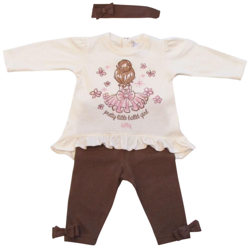 Conjunto Pretty Little Ballet Girl - Creme e Marrom - Tilly Baby Conjunto Pretty Little Ballet Girl Creme Marrom Tilly Baby - P