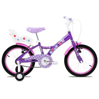 Bicicleta-Aro-16---Aco-My-Bike-Roxa-com-Porta-Boneca-e-Pneus-Pretos---Tito-Bikes