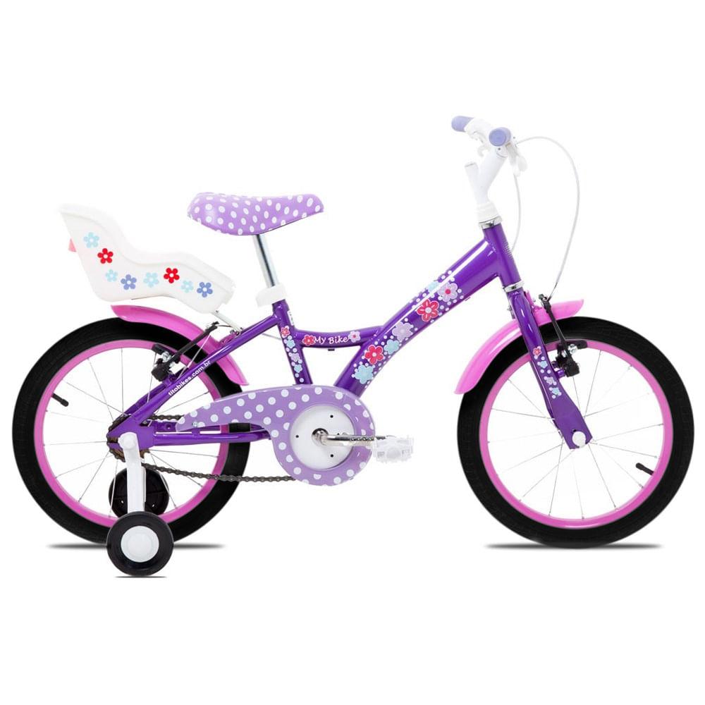 Bicicleta Aro 16 - Aço My Bike Roxa com Porta Boneca e Pneus Pretos - Tito Bikes