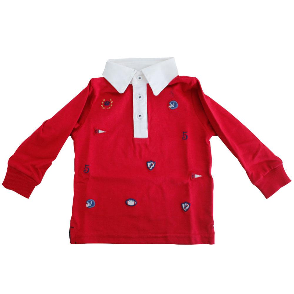 Camisa Polo Futebol Americano em Malha Mescla - Vermelha - Baby Classic - GBaby Camisa Polo Futebol Americano Mescla - Baby Classic - GBaby - GG