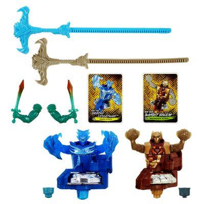 Pião BeyBlade BeyWarriors Shogun Stell - Orochi Leviathan e Bandit Golem - Hasbro