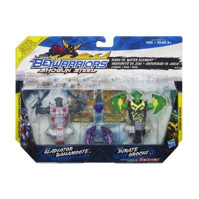 Pião BeyBlade BeyWarriors Shogun Stell - Gladiator Bahamoote e Pirate Orochi - Hasbro