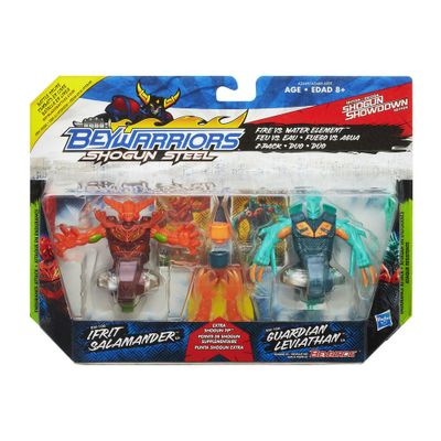 Pião BeyBlade BeyWarriors Shogun Stell - Ifrit Salamander e Guardian Leviathan - Hasbro