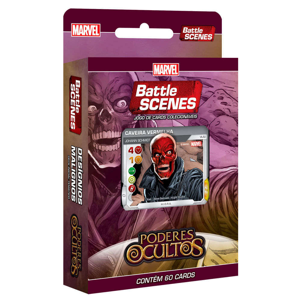 Deck Desígnios Malignos - Marvel Battle Scenes - Poderes Ocultos - 60 Cartas - Copag