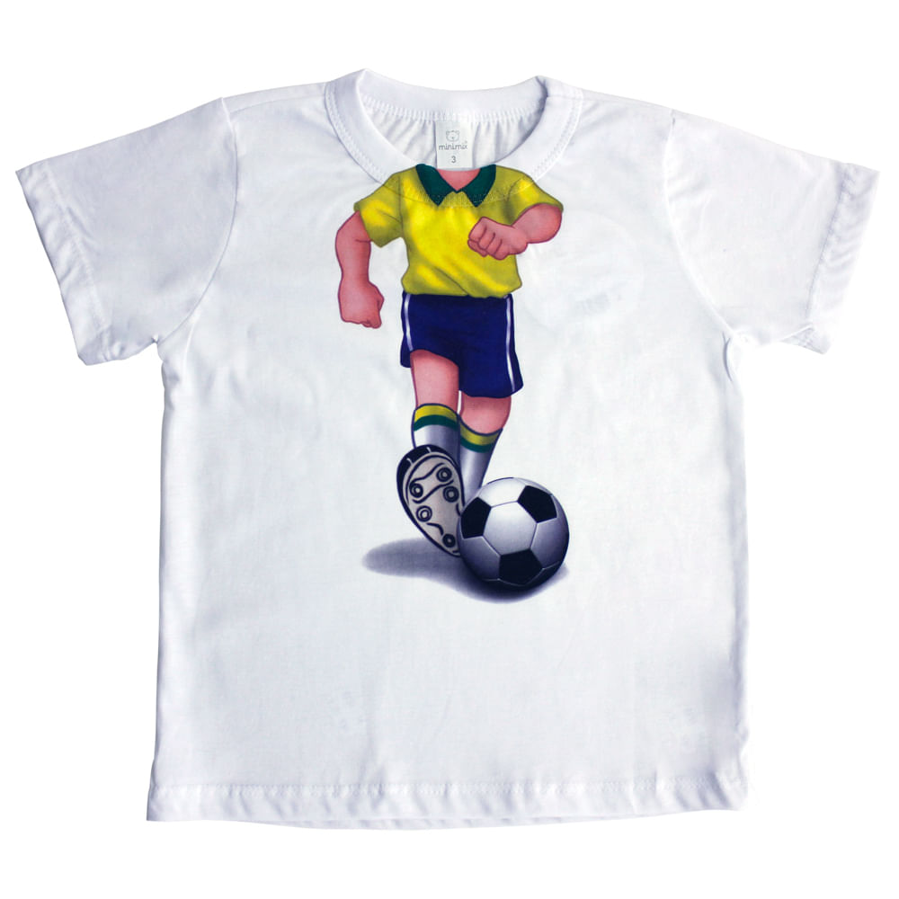 Camiseta Manga Curta Jogador de Futebol - Branco - Mini Mix - GBaby Camiseta Manga Curta Jogador de Futebol - Branco - GBaby - 1