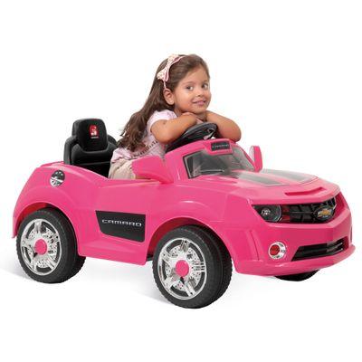 2612-Mini-Veiculo-Eletrico-Camaro-com-Controle-Remoto-6-Volts-Rosa-Bandeirante