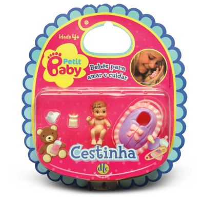 Mini-Boneca-Petit-Baby---Cestinha-Rosa---DTC-2