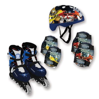 Patins-In-Line-e-Kit-de-Seguranca-Transformers---Optimus-Prime-Azul---33-ao-36---Conthey