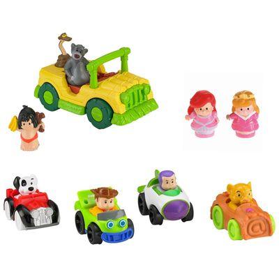 kit-conjunto-figuras-wheelies-bonecas-ariel-e-aurora-veiculo-mogli-o-menino-lobo-little-people