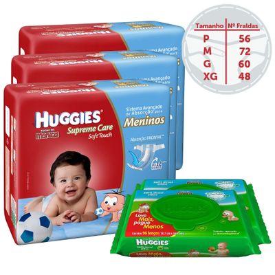 Kit-Fraldas-Descartaveis-Turma-da-Monica-Supreme-Care-Menino-Lencos-Umidecidos-96-unidades-Cada-Huggies