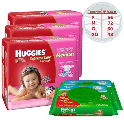 Kit-Fraldas-Descartaveis-Turma-da-Monica-Supreme-Care-Menina-Lencos-Umidecidos-96-unidades-Cada-Huggies