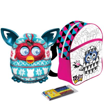 kit-pelucia-interativa-furby-boom-festive-sweater-hasbro-mochila-furby-para-colorir-rock-star-rosa
