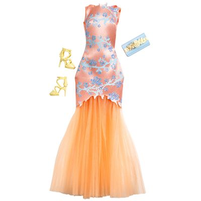 CFX92-Roupinha-para-Bonecas-Barbie-Vestido-de-Gala-Laranja-Mattel