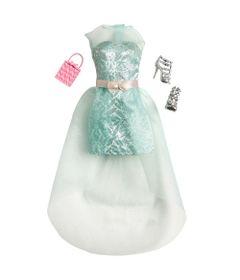 CFX92-Roupinha-para-Bonecas-Barbie-Vestido-de-Gala-Verde-Espuma-Mattel