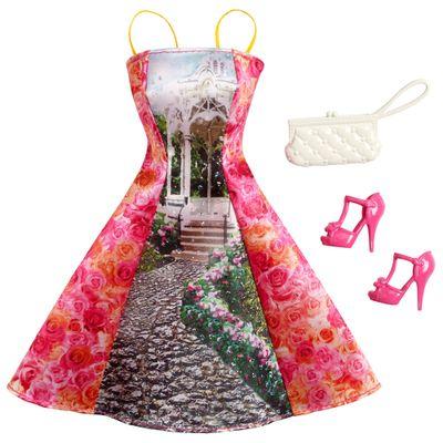 CFX92-Roupinha-para-Bonecas-Barbie-Vestido-de-Dia-Floral-Rosa-Mattel
