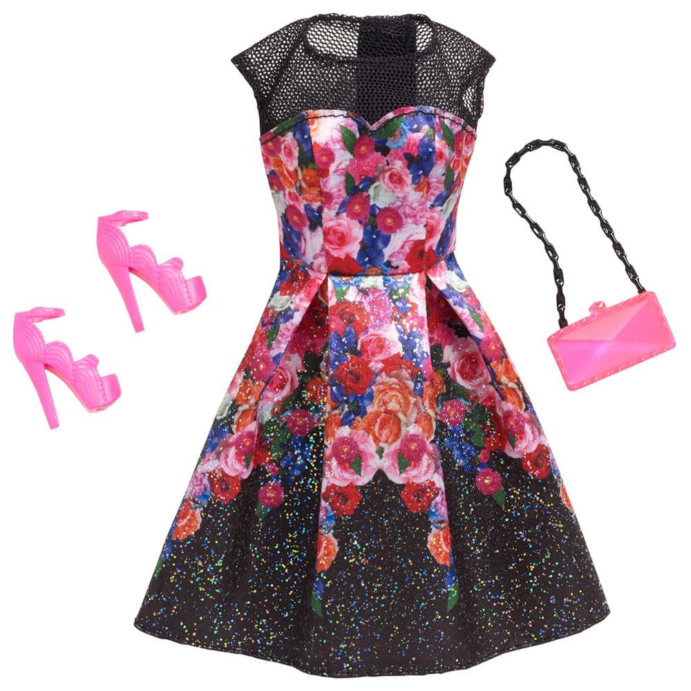 Roupinha para Bonecas Barbie - Vestido de Dia Floral Preto - Mattel