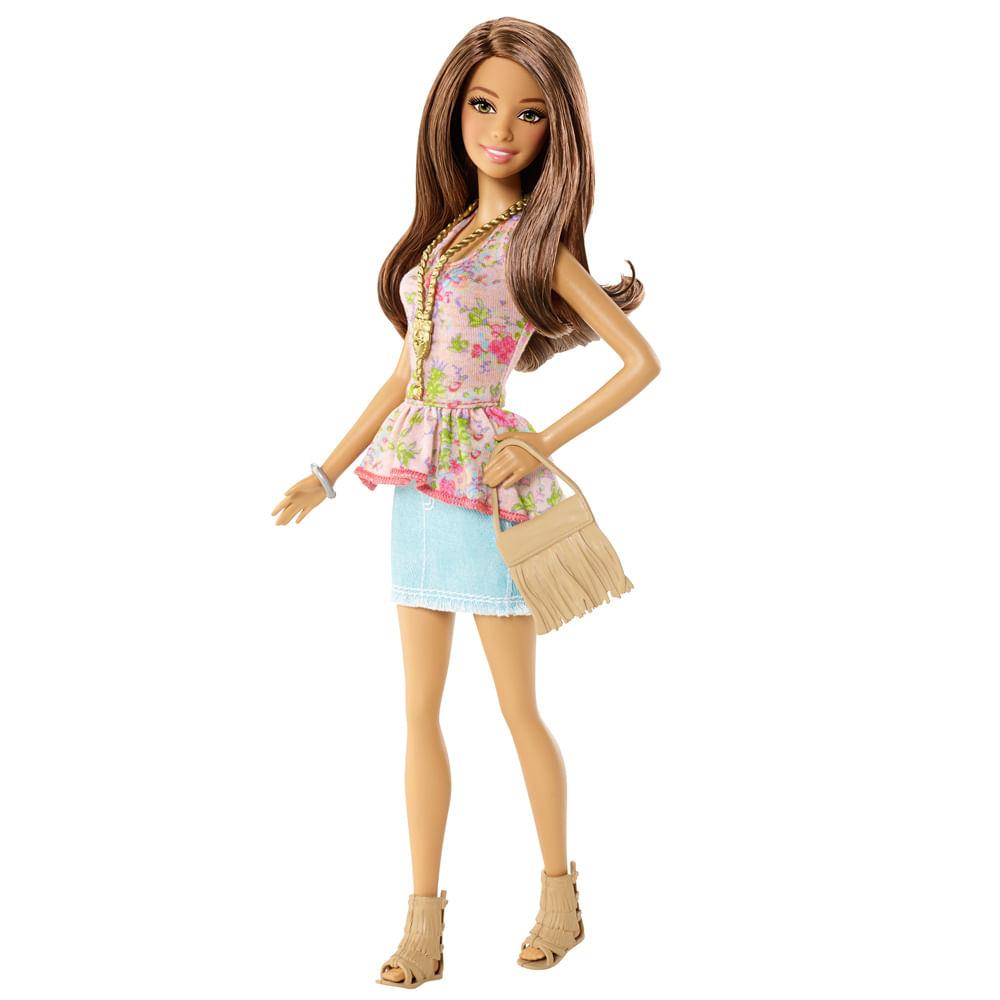 Boneca Barbie Fashionistas - Balada - Conjunto Blusa Flores e Saia Azul - Mattel